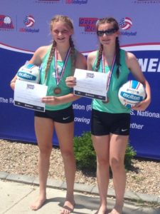 Tyalor Spotten and Tori Schulz after winning the 12's Great Plains Sand Volleyball Tournament in Omaha.