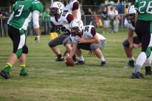 Center Andrew Olson and Right Guard Kale Krysl patiently wait for the snap of the ball.