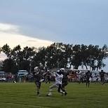 Jr. Franklin Fessler and Sr. Tate Schmaderer provide defense on Boyd County Sr. receiver Mitchell Atkinson